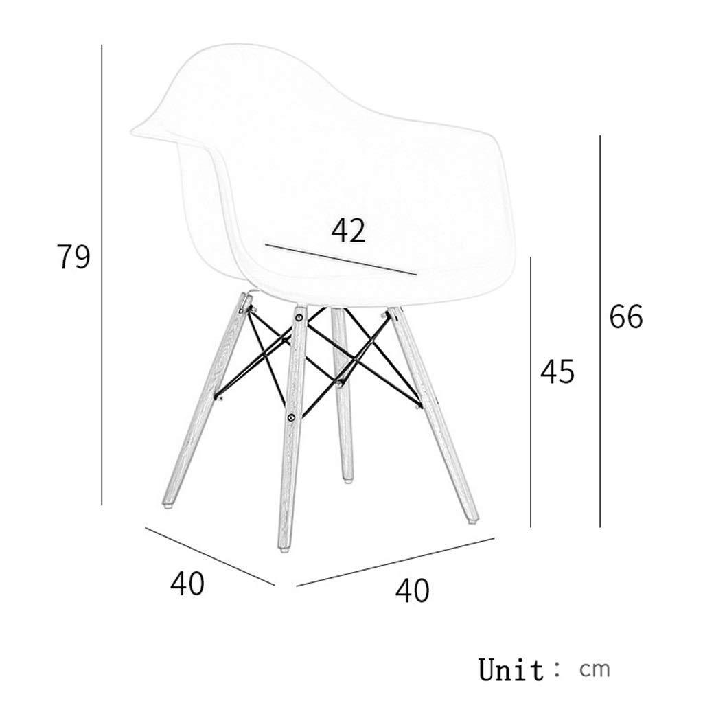 ZXL Lounge plast sidostol modern mitten av århundradet med naturliga träben för kök vardagsrum matsal sovrum kontor (färg: vit) GUL
