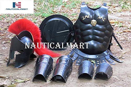 NauticalMart Medieval Roman King Leonidas 300 Spartan Helmet W/Red Plume + Muscle Armor + Shield + Leg Or Arm Guard -