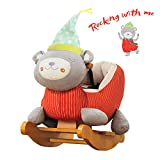 Labebe Baby Rocking Horse Wooden, Plush Rocking Horse Toy, Red Bear Rocking Horse for Baby 1-3 Years, Baby Wooden Rocking Horse/Baby Rocker/Garden Rocking Horse/Indoor&Outdoor Rocking Horse Toy