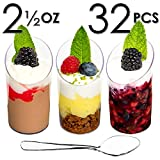 Mini Dessert Cups, Appetizer Bowls & Spoons with Recipe e-Book [Clear Plastic, 2.5 oz, Round Slanted, 32 Count] Small Catering Supplies, Disposable Parfait Glasses,Tasting Tumblers, Shooters