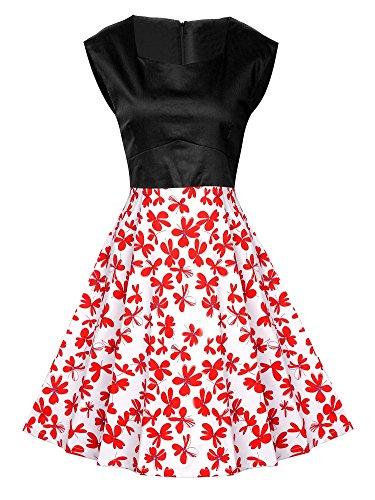 Vestido de Mujer Vintage Retro Rockabilly Coctel Vestidos de Noche Rojo1
