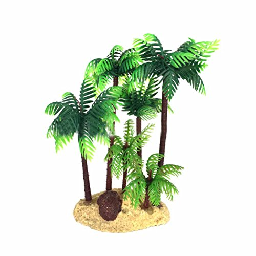 (UEETEK 14cm Plastic Coconut Palm Tree Miniature Plant Bonsai Craft Micro Landscape DIY)