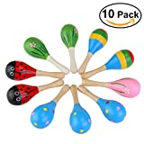 TOYMYTOY 10pcs Wooden Maracas Rattle Shakers Musical Instruments Rhythm Toys for Kids Children 11.5cm (Random Color Pattern)