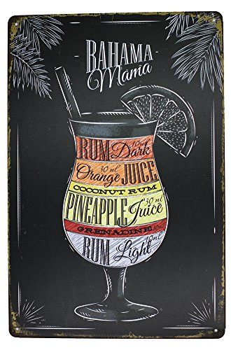 Bahama Mama Rum Orange Pineapple Juice, Drink Poster Metal Tin Sign, Vintage Plaque Pub Bar Dining Room Home Wall Decor