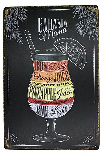 Bahama Mama Rum Orange Pineapple Juice, Drink Poster Metal Tin Sign, Vintage Plaque Pub Bar Dining Room Home Wall Decor -