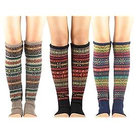 Zando Women Girls Bohemian Long Leg Warmer Winter Fashion Boho Knitted Warm Boot Thigh High Socks