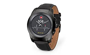 MyKronoz ZeTime Premium Hybrid Smartwatch 44mm with Mechanical Hands Over a Color Touch Screen – Brushed Black/Black Flat Leather