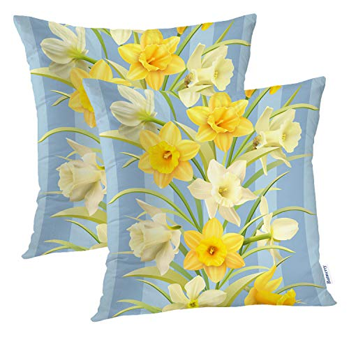 Batmerry Spring Pillows Decorative Throw Pillow Covers 18x18 Inch Set of 2, Spring White Daffodils Flowers Delicate Pattern Double Sided Square Pillow Cases Pillowcase Sofa Cushion