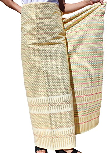 RaanPahMuang Unstitched Heavy Thick Thai Silk Fabric for Wedding Dresses 40×65″, Cream