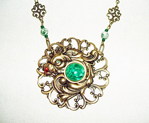 GREEN Peking Glass DRAGON Necklace with Stone Beads Designer Signed Asian Influence (Peking Glass Beads)