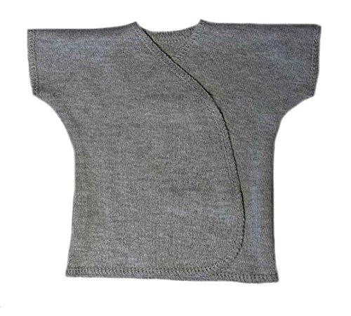 Jacqui's Unisex Baby Heather Gray Short Sleeve Kimono T-Shirt, Newborn