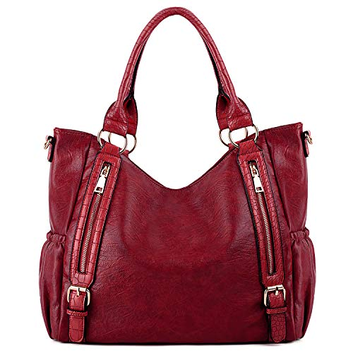 - UTO Women Handbags Shoulder Bags Tote PU Leather Side Pockets Fashion Large Capacity Purse Red