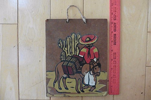 Vintage Folk wall Art Mexican painting hand painted donkey man sombrero cactus (Donkey With Sombrero)