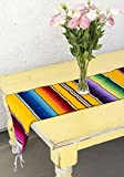 Del Mex (TM) Mexican Serape Blanket Table Runner (Yellow)