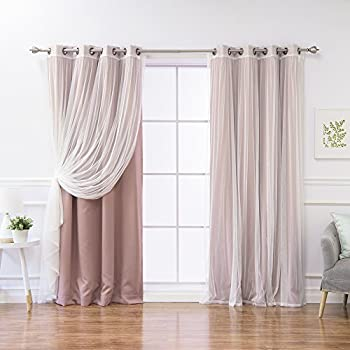 Best Home Fashion Mix And Match Tulle Sheer Lace Blackout Curtain Set