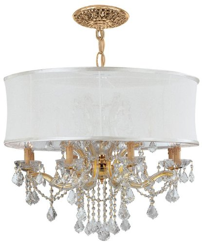 Gd Cls Crystorama Lighting (4489-GD-SMW-CLS Brentwood 12LT Pendant, Polished Gold Finish with Smooth Antique White Fabric Shade and Swarovski Elements)