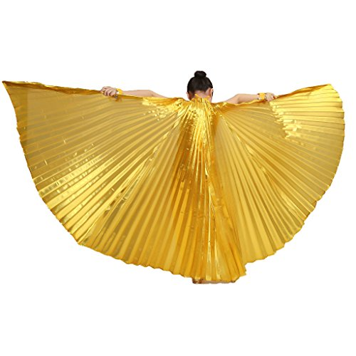 MUNAFIE Halloween Costumes Belly Dance Isis Wings for Children Kids Gold (Only Wing without Sitcks and Bag)]()