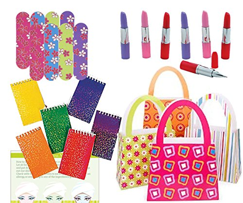 Party Favors for Girls - (MINI Emery Boards, Lipstick Pens, Glitter Notepads, Purse Bags, and Spa Recipes )Total 49 Pieces ()