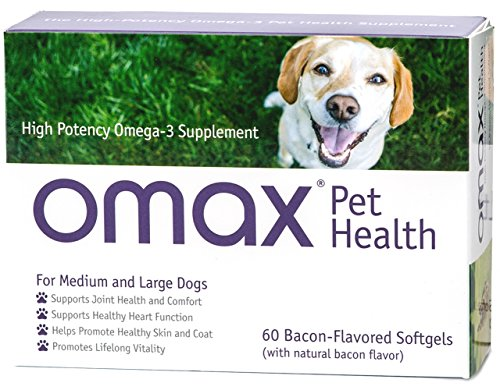 Omax3 Omega 3 Fish Oil for Dogs, Bacon Flavored, High-Potency 750 mg, EPA/DHA, Yale-science anti-inflammatory formula, 60 Softgels