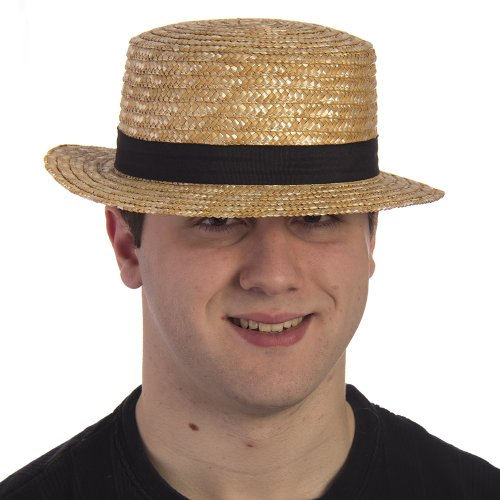 Costume Amish Halloween (HMS Men's Amish Straw Hat, Natural, One)