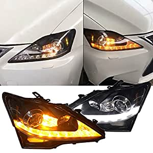 Amazon headlights fits 2006 2014 lexus is250 is350 isf f headlights fits 2006 2014 lexus is250 is350 isf f sport style housing black lamps sciox Image collections