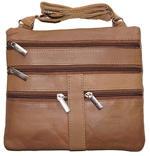 Tan Ladies Genuine Leather Cross Body Bag Satchel Messenger Bag 48'' Strap by Wallet (Image #1)