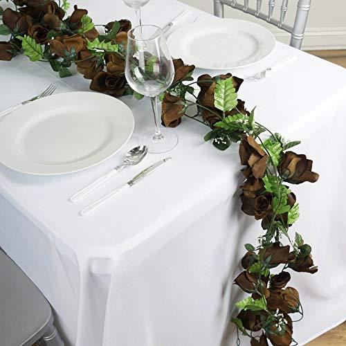 BalsaCircle 24 ft Chocolate Brown Large Silk Rose Garlands - 4 Strands - Wedding Party Centerpieces Arrangements Bouquets Supplies ()