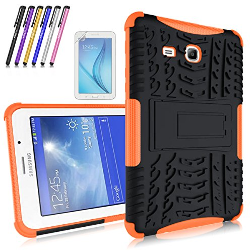 windrew heavy duty hybrid protective case with kickstand impact resistant for samsung galaxy tab 3 lite