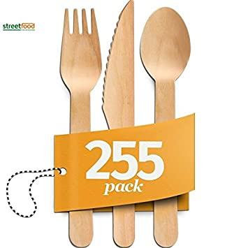Disposable Wooden Cutlery Sets 255 Piece Total 85 Forks 85 Spoons 85 Knives 6 Length Eco Friendly Biodegradable Compostable Wooden Utensils