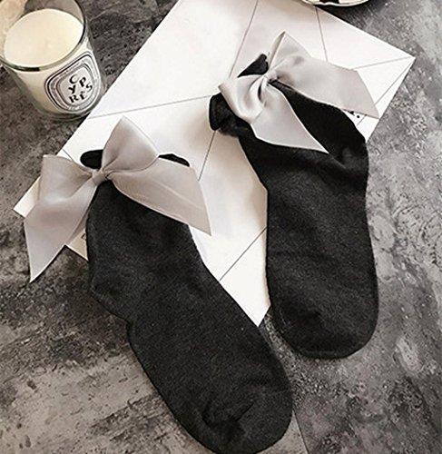 Sagton Women Harajuku Street Style Socks Cotton Ankle Length Socks Crew Socks With Bowknot Deep Gray+gray EvNy1AS