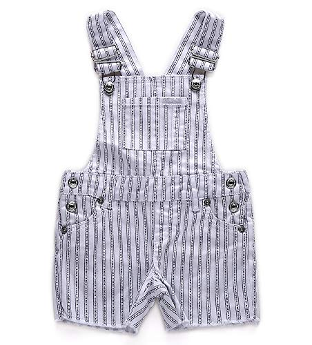 Girls Cotton Overalls Classic Vertical Striped Printed Adjustable Shortalls Size 2T White (Shortall White Striped)