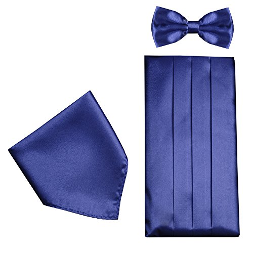 CMB016-Mens Formal Cummerbund Set Bow Tie & Pocket Square Classic Formal Gift Set in Navy - Navy Cummerbund
