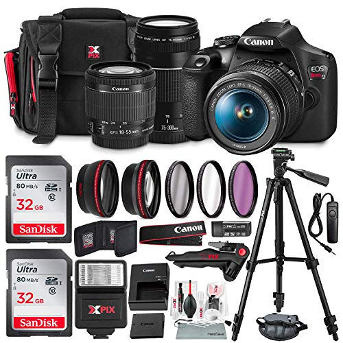Canon T7 EOS Rebel DSLR Camera with 18-55mm and 75-300mm Lenses Kit + UV Filter Set + Tripods + Flash & 32GB Dual SD Card Accessory Bundle (Best New Canon Dslr)