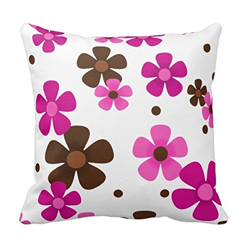 Bigdream Throw Pillow With Pink And Chocolate Brown Daisies