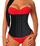 YIANNA Women's Underbust Latex Sport Girdle Waist Trainer Corset Fat Burner Abdominal Waist Trimmer Body Shaper for Weight Loss, YA-U37G-Black-M