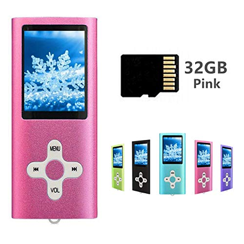MP3 Player MP4 Player with a 32GB Micro SD Card, Runying Portable Music Player Support up to 64GB, Mini USB Port 1.8 LCD, with Photo Viewer, E-Book Reader, Voice Recorder & FM Radio Video (32GB Pink)