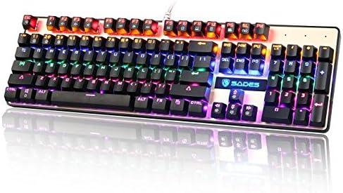 SADES K10 mecánico Gaming teclado 104 teclas 19 conflicto no llaves USB con cable retroiluminado Metal Panel LED con interruptores azul-(negro/oro)