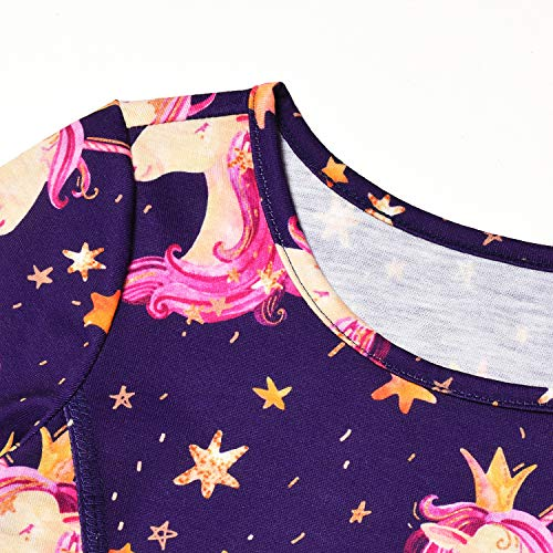 Jxstar Girls Long Sleeve Dresses Kids Unicorn Clothes Cotton Outfits 3-13  Years db9b67444