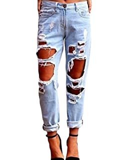 Kasen Pantalones Sueltos Mujer Vaqueros Rotos Agujero Jeans Casuales
