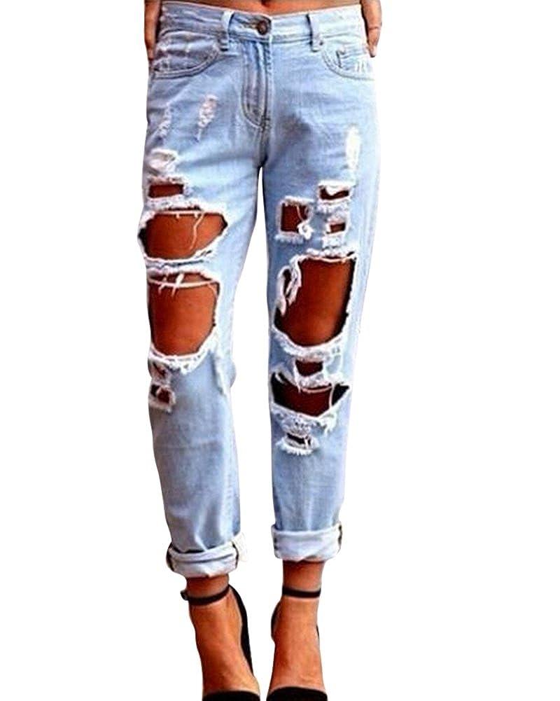 TALLA S(Cintura 70CM). Kasen Pantalones Sueltos Mujer Vaqueros Rotos Agujero Jeans Casuales