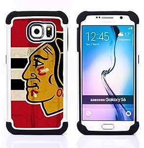 - Chicago Blackhawk Hockey/ H???¡¯????brido 3in1 Deluxe Impreso duro Soft Alto Impacto caja de la armadura Defender - SHIMIN CAO - For Samsung Galaxy S6 G9200