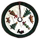 Handmade 11'' Felt Applique Dog Topiary Pet Christmas Tree Skirt Small Tabletop Size
