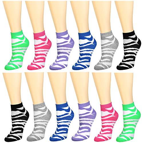 12-Pack Women's Ankle Socks Assorted Colors Size 9-11 (Zebra Skin Pattern)