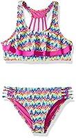 VIGOSS Girls' Big Wild Thing Two Piece Double Flounce Swimsuit, Magenta, 14