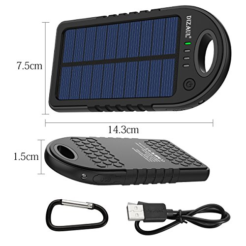 Dizaul Solar Charger, 5000mAh Portable Solar Power Bank Waterproof/Shockproof/Dustproof Dual USB Battery Bank Compatible with Smartphones,iPhone,Samsung,Android Phones,Windows Phones,GoPro,GPS