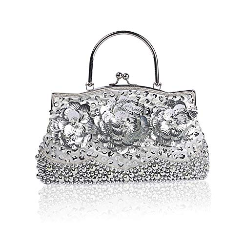 Women Handbag Beaded Exquisite Evening Fadirew for amp; Silver Ladies Cluth Bag Bridal Party Bags Ball Glitter Sequin Bag Beads Vintage Wedding Handmade qwxg4CB