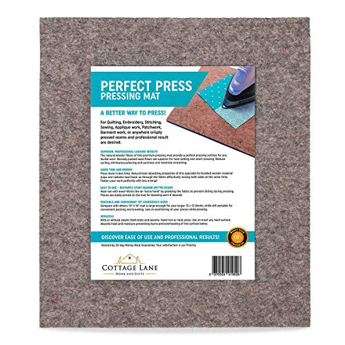"Wool Pressing Mat 16"" x 14"" Quilters Pressing Pad Quality 100% Wool Ironing Mat. Quilting Embroidery Stitching Sewing Applique Work Patchwork Garment Work. Crisply Pressed Seams/Professional ()"