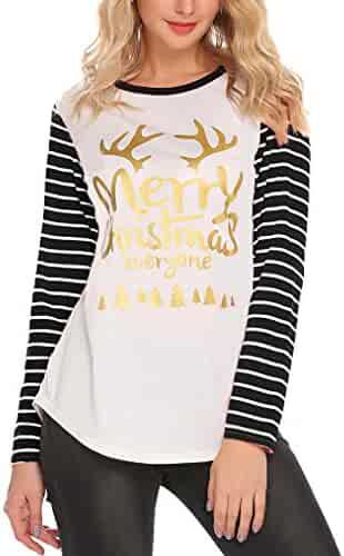 561a7ffd3e5 Halife Womens Christmas Letter Print Stripe Long Sleeve T-Shirts Casual  Blouse Tunic Tops