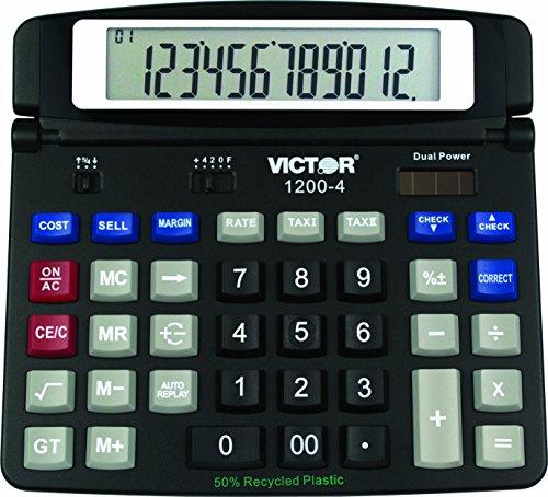 Victor Technology 1200-4 Escritorio Basic Calculator Negro - Calculadora (Escritorio, Calculadora Básica, 12 Dígitos,...