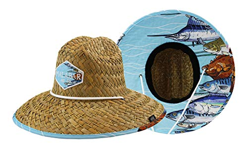 Fabric Hat Pattern - Men's Straw Hat with Fabric Pattern Print Lifeguard Hat, Beach, Cruise, and Outdoor, Summer, Fits All, Malabar Hat Co - Group of Fishes